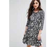 Kleid mit Tierfelldruck Grau