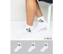 Weiße Socken in Viertellänge im 3er-Set Weiß