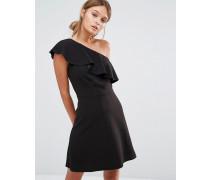 Kleid mit einem Träger und Rüschen Schwarz