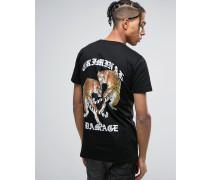 Schwarzes T-Shirt mit Tigerprint hinten Schwarz