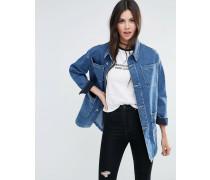 Jeansjacke im Workwear-Stil in mittelblauer Waschung Blau
