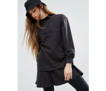 Lässiges Sweatkleid mit doppeltem Saum und Schößchen Schwarz