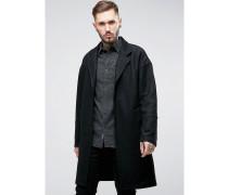 Übergroßer, lang geschnittener Mantel Schwarz