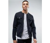 Kragenlose, schwarze Jeansjacke Schwarz