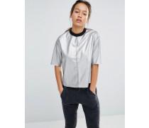 T-Shirt in Silber-Metallic Silber