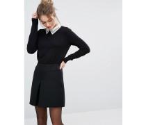 Pullover mit verziertem Kragen Schwarz