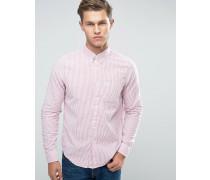 Gestreiftes, schmal geschnittenes Oxford-Hemd mit Buttondown-Kragen in Rot Rot