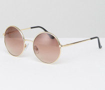 Runde Sonnenbrille im Stil der 90er Jahre Gold