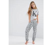 Retro-Schlafanzughose Grau