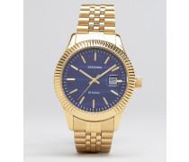 Goldfarbene Armbanduhr mit schwarzem Zifferblatt, Exklusiv bei ASOS Gold
