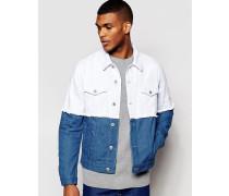 Jeansjacke im Patchwork-Design mit ausgefransten Kanten Blau