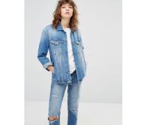 Übergroße Boyfriend-Jeansjacke Blau