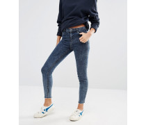 Skinny-Jeans in Acid-Waschung mit Fransensaum Blau