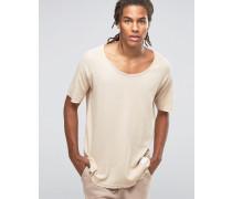 T-Shirt mit abgeschnittenen Kanten Steingrau
