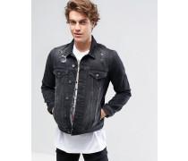 Jeansjacke in schwarzer Waschung mit Rissen Schwarz