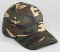 Baseball-Kappe mit gebogenem Schirm mit Camouflage-Muster in Grün Grün