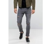 Enge Jeans in Vintage-Waschung Grau