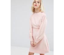 List Ink Kleid mit Knopfdekor, verzierten Ärmeln und Rückenausschnitt Rosa