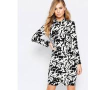 Langärmliges Kleid mit Grafikdruck in Schwarz Schwarz