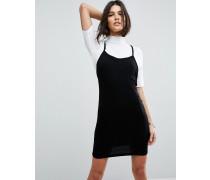 Minikleid mit Rippung und überkreuzter Rückseite Schwarz