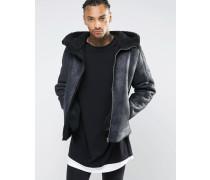 Schwarze Jacke in Schaffelloptik mit Kapuze Schwarz
