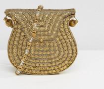 Goldene Umhängetasche mit Metall- und Strass-Verzierung sowie perlenbesetztem Trageriemen Gold