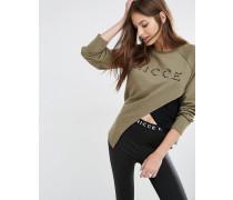 Asymmetrisches Sweatshirt mit Netzstofflage und Logostickerei Mehrfarbig