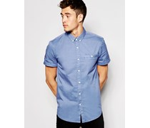 Kurzärmliges Hemd aus Baumwoll-Popeline Blau