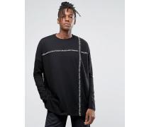Langärmliges Oversize-Shirt mit bedrucktem Streifen Schwarz