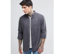 Einfarbiges Flanellhemd Grau