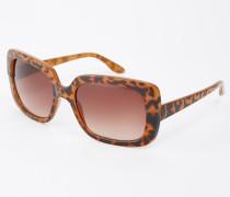 Eckige Sonnenbrille in Schildpattoptik Braun