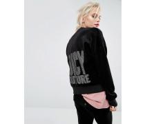 Westwood Velours-Jacke mit Ziersteinen Schwarz