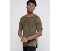 T-Shirt aus Wildlederimitat in Übergröße mit großer Tasche Grün