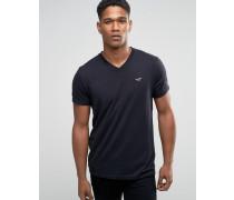 Must Have Schmales, schwarzes T-Shirt mit V-Ausschnitt und Möwenlogo Schwarz