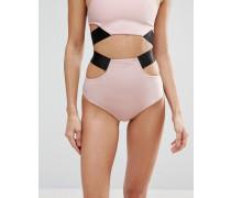 Bikinihose mit hohem Bund und breitem Kontrastriemen Rosa