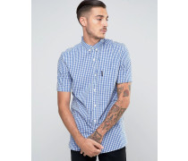 Check Shirt with Short Sleeves Blau