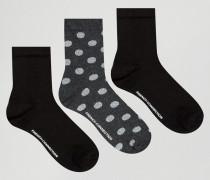 Glitzernde Socken mit Punkten, Dreierset Grau