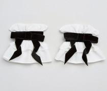 Manschetten mit Samtschleife Weiß