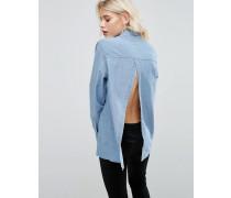 Jeanshemd mit Rückenschlitz in verwaschenem Mittelblau Blau