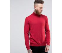 Rollkragenpullover aus roter Baumwolle Rot