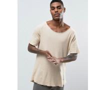 Locker geschnittenes Waffelstrick-T-Shirt in Nude Beige