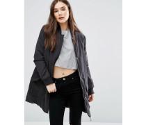 Wattierter Mantel Schwarz