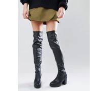 Overknee-Stiefel mit Blockabsatz in Lederoptik Schwarz