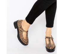 Flache Plateau-Schuhe aus Wildleder mit T-Steg Mehrfarbig