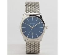 Uhr mit silbernem Netzarmband und blauem Ziffernblatt Silber