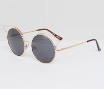 Sonnenbrille mit reflektierendem Metall Gold