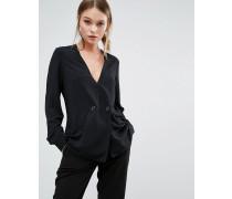 Zweireihige Bluse im Smoking-Stil Schwarz
