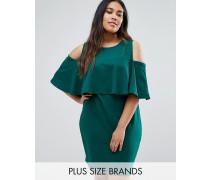 Schulterfreies Kleid mit Cape-Kragen in großer Größe Grün