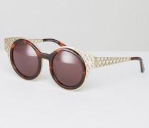Sonnenbrille mit runder Fassung und Cut-out Braun