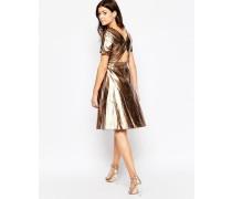 Kleid in Metallic-Optik mit Zierausschnitt hinten Gold
